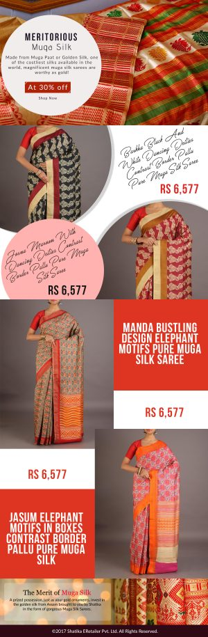 Muga Silk Sarees – Buy Handloom Muga Sarees Online from Shatika