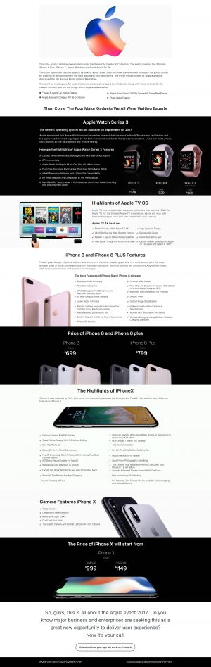 Apple Watch Series 3, Apple TV OS, iPhone X, and iPhone 8 Features [Infographics]