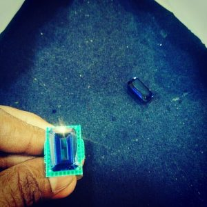 Specially customized Sapphire and Diamond Ring in process