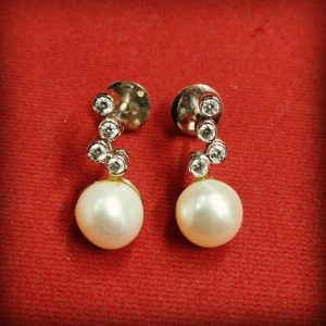 Abstract Pearl and Diamond earrings