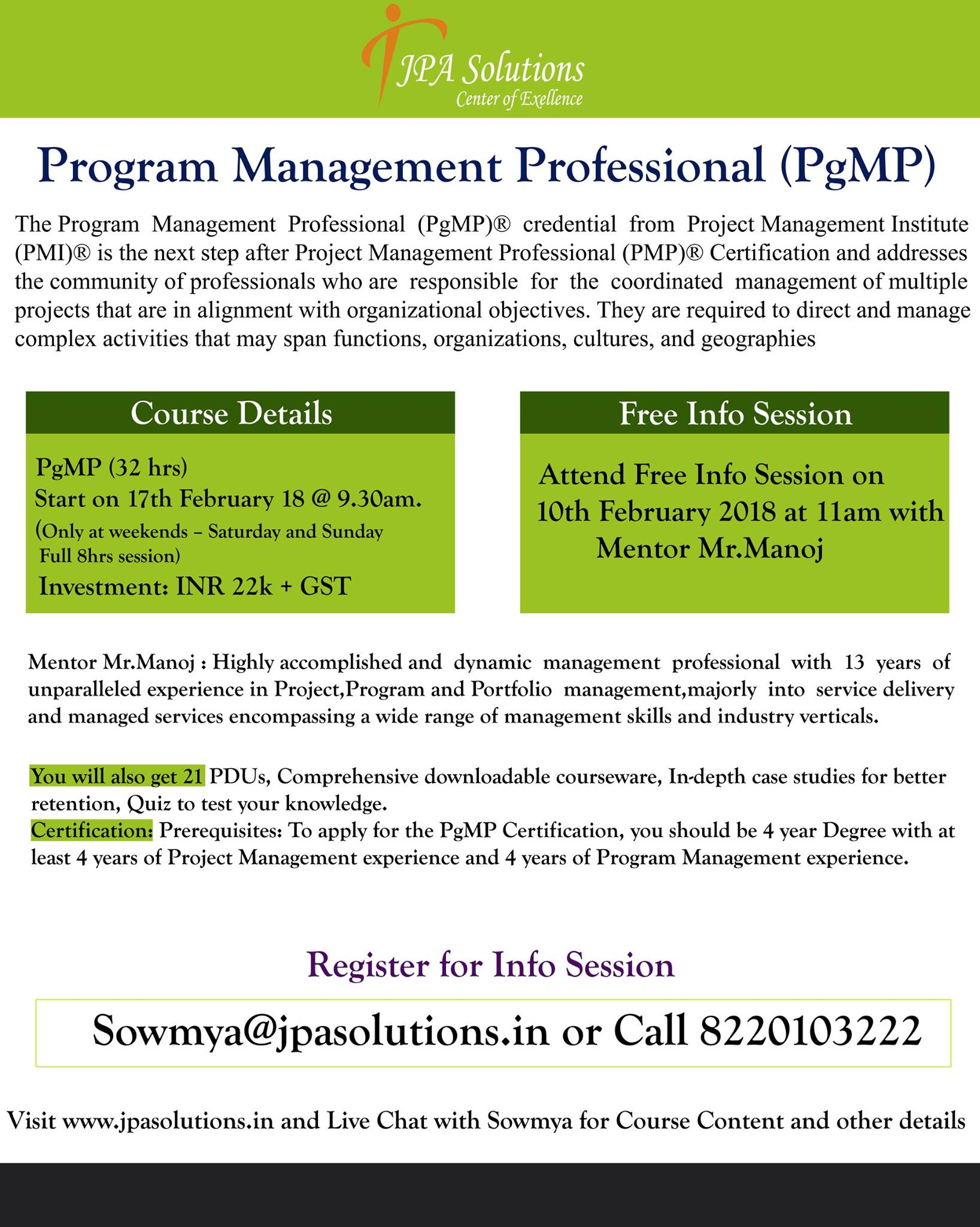 Pgmp Certification Training In Chennai Infographicas