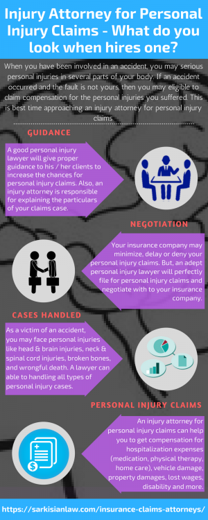 Injury Attorney for Personal Injury Claims – What do you look when hires one?